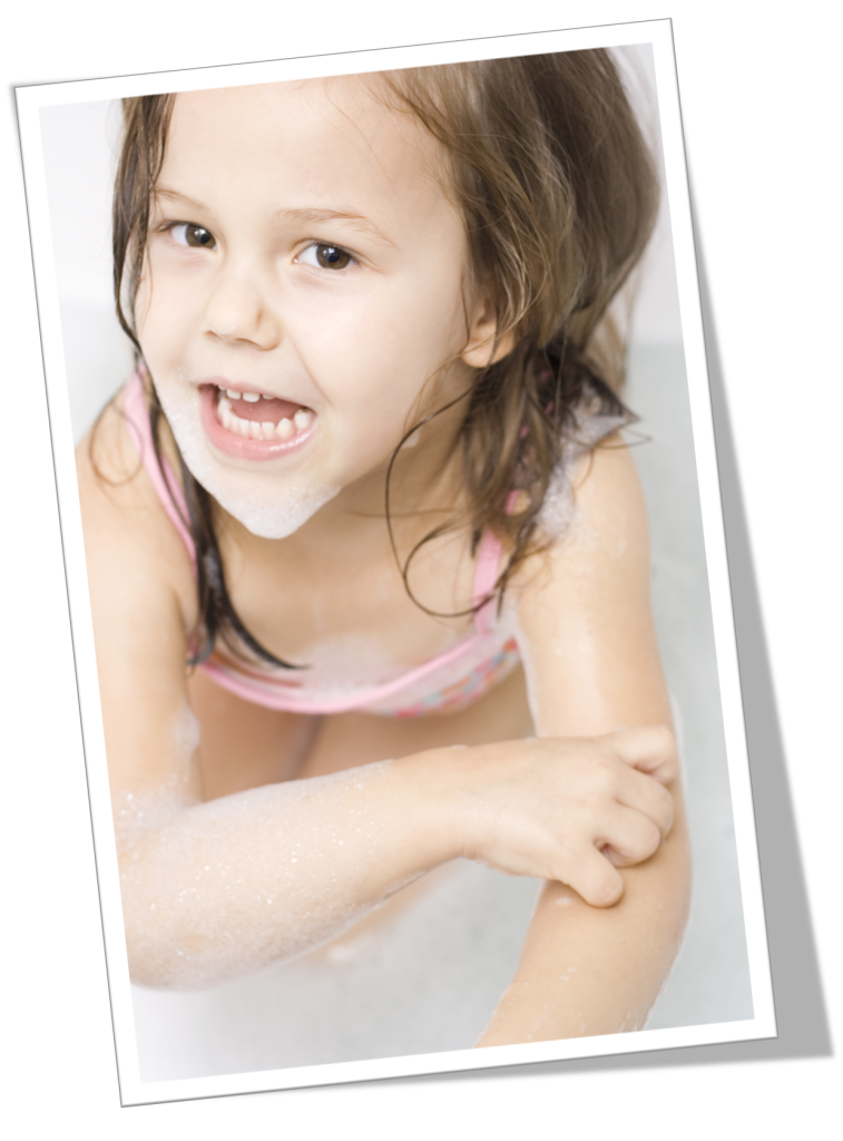 child scratching her arm because of harmful soap